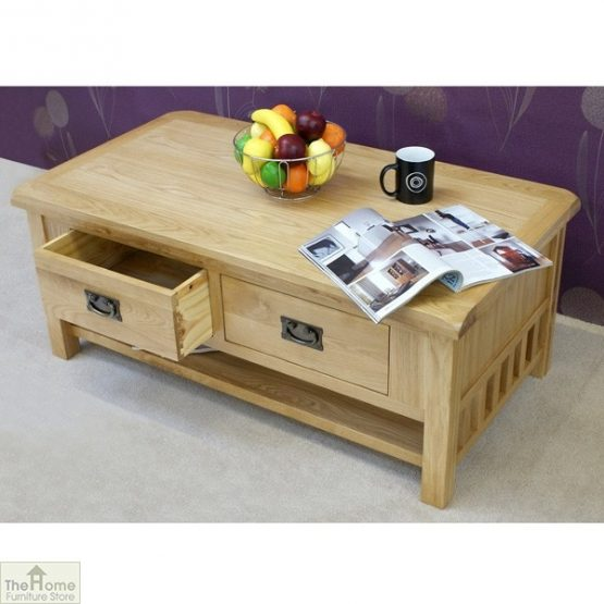 Farmhouse Oak 2 Drawer Coffee Table_4