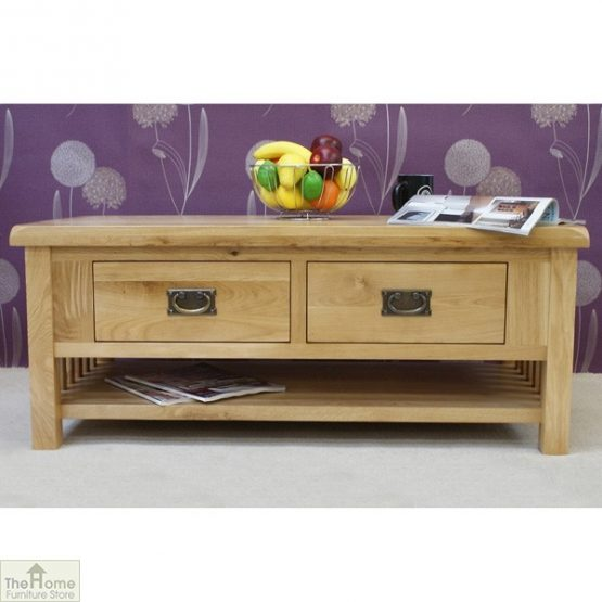 Farmhouse Oak 2 Drawer Coffee Table_2