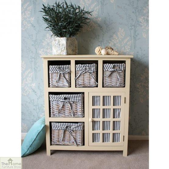 Selsey Wicker 5 Drawer 1 Door Storage Unit_1