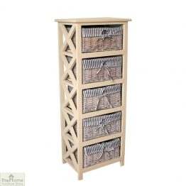Selsey 5 Drawer Wicker Tallboy Unit