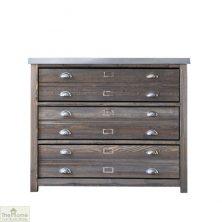 Zinc Top 3 Drawer Cabinet