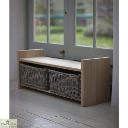 Oak Wicker Drawer Storage Bench_1