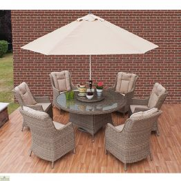 Casamore Corfu Round 6 Seater Dining Set with Wing Back Armchairs