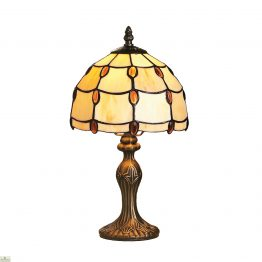 Tiffany Style Amber Jewel Table Lamp