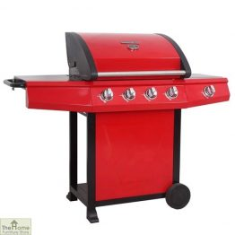 Grenada Red 4 Burner Stainless Steel Gas BBQ