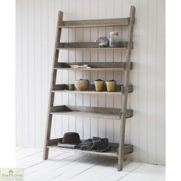 Wide Rustic Wooden Shelf Ladder_1