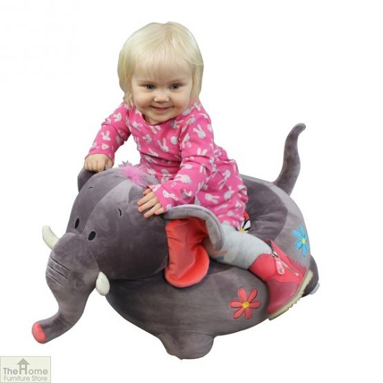 Plush Grey Elephant Riding Chair