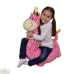 Plush Pink Giraffe Riding Chair