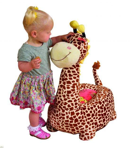 Plush Brown Giraffe Riding Chair_1