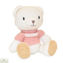 Sitting Bear Knitted Toy Pink