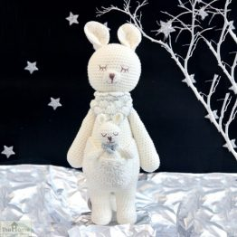 Kangaroo Knitted Toy White