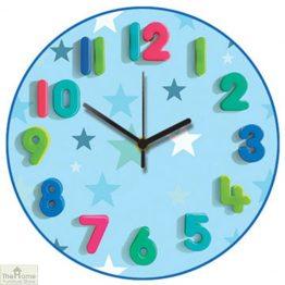 Blue Stars Childrens Wall Clock