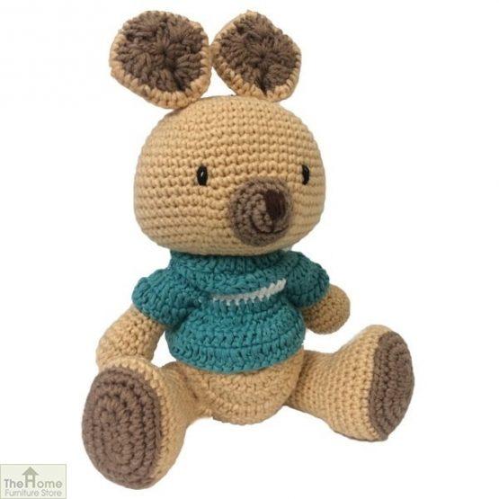 Kangaroo Knitted Toy Blue
