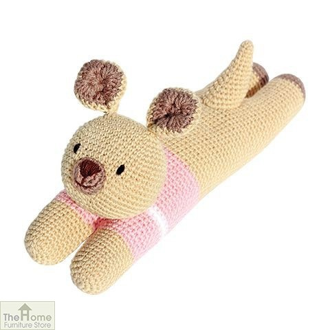 Laying Kangaroo Knitted Toy Pink