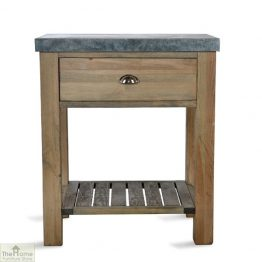 Zinc Top 1 Drawer Side Table