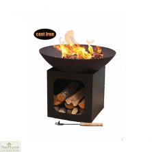 Cast Iron Firebowl With Log Store