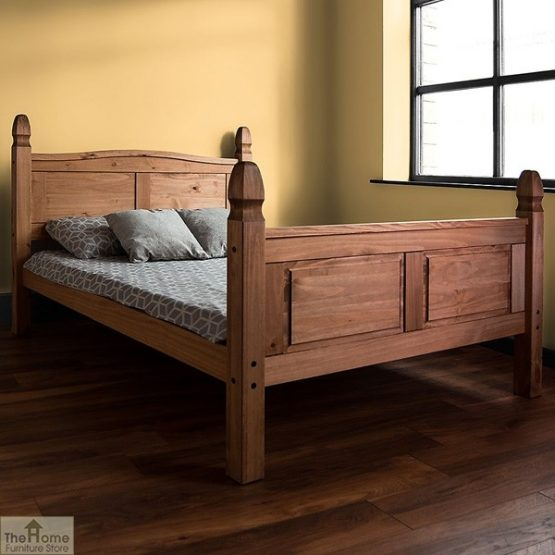Solid Pine King Size Bed High Foot End_3