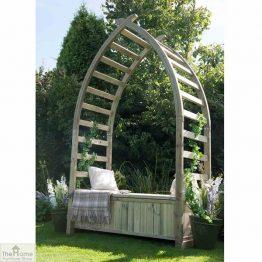 Wooden Arch Arbour Storage Seat_1