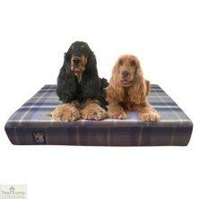 Grey Check Memory Foam Dog Bed