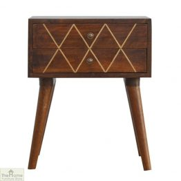 Balmoral Gold Inlay 2 Drawer Bedside Table