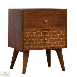 Windsor Gold Pattern 2 Drawer Bedside Table_1