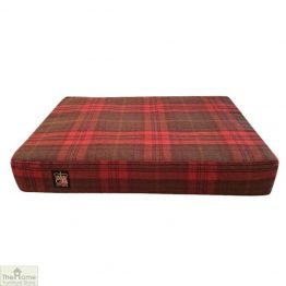 Green Check Memory Foam Dog Bed