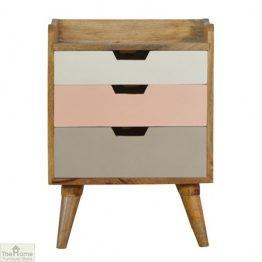 Winchester Pink 3 Drawer Bedside Unit