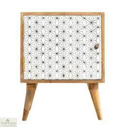 Geometric Print 1 Door Bedside Table