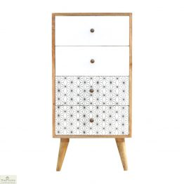 Geometric Print 4 Drawer Tallboy