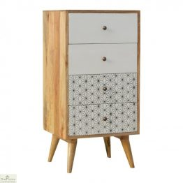 Geometric Print 4 Drawer Tallboy_1