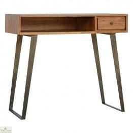 Iron Base 1 Drawer Writing Desk_1