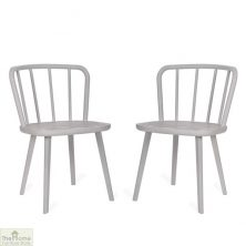 White Spindle Back Dining Chair Pair