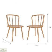 Natural Spindle Back Dining Chair Pair