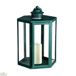 Green Candle Holder Glass Lantern