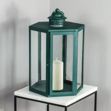 Green Candle Holder Glass Lantern