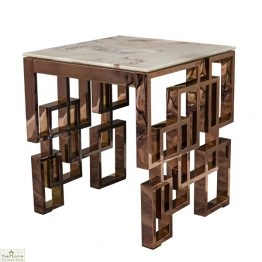 Marble Glass Rose Gold Side Table