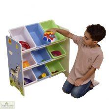 Safari Blue 9 Bin Storage Shelf