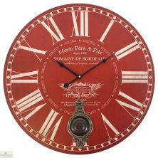Large Red Pendulum Wall Clock