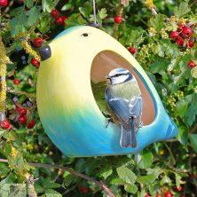 Ceramic Blue Tit Bird Feeder