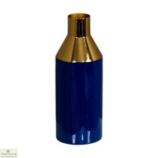 Enamel Gold Stem Blue Vase