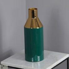 Enamel Gold Stem Green Vase