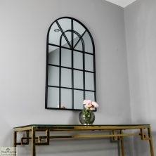 Black Arched Window Mirror